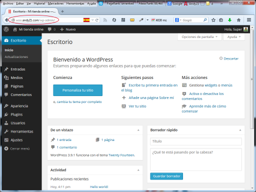 Backend de WordPress 3.9