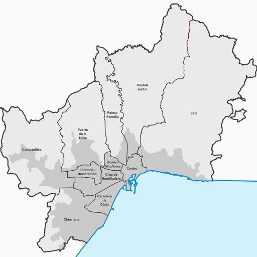 Los barrios de malaga en google maps andy garcia for Distrito ciudad jardin
